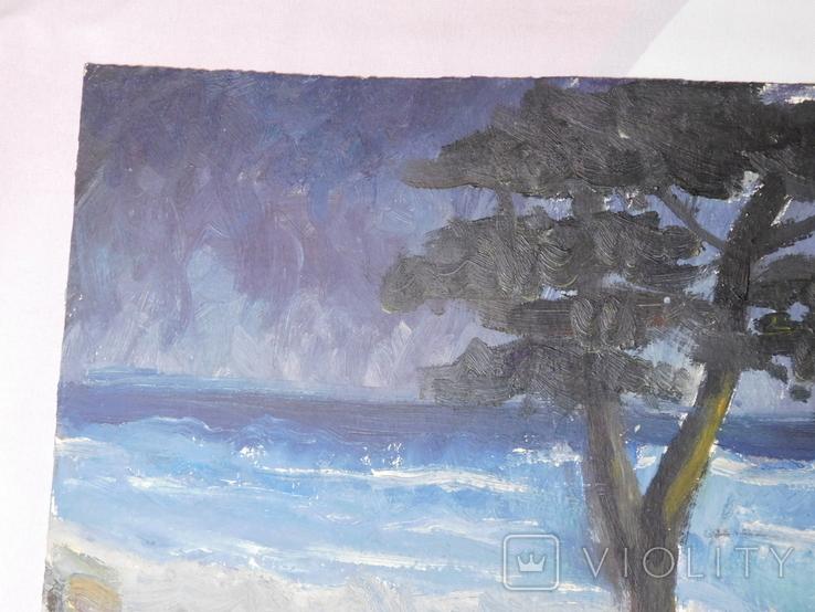 Дерево на берегу. Картон, масло. Размер 25х35 см., фото №3