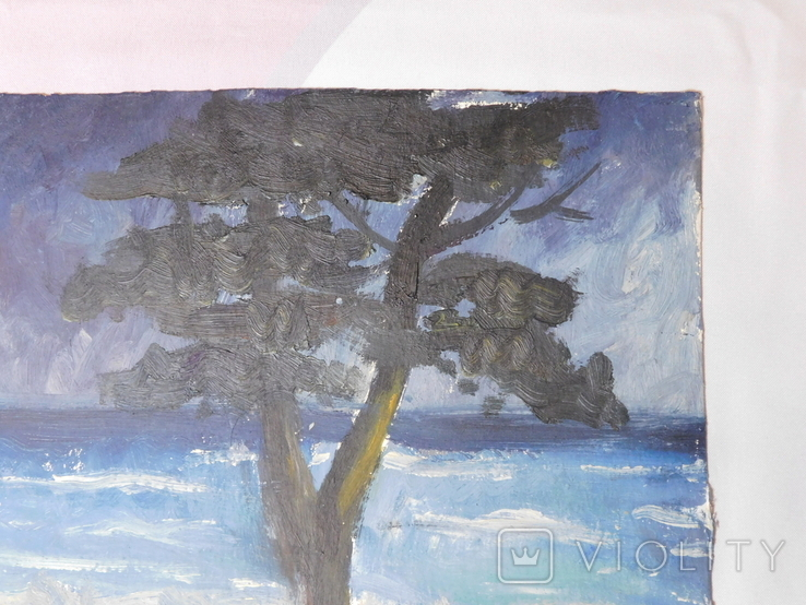 Дерево на берегу. Картон, масло. Размер 25х35 см., фото №4