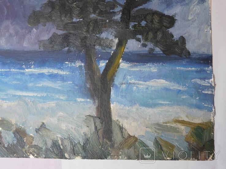 Дерево на берегу. Картон, масло. Размер 25х35 см., фото №6