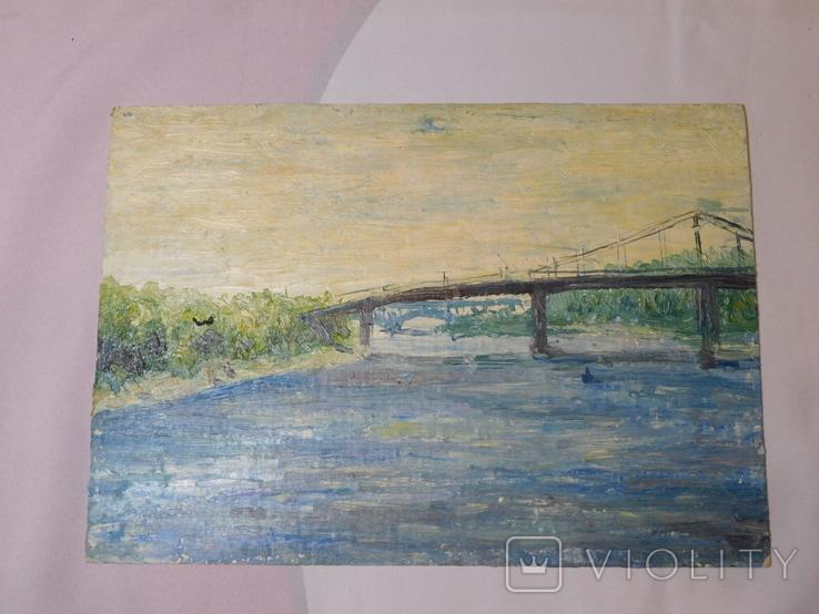 Пешеходный мост. Картон, масло. Размер 24,5х35 см., фото №2