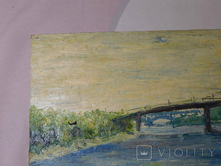Пешеходный мост. Картон, масло. Размер 24,5х35 см., фото №3