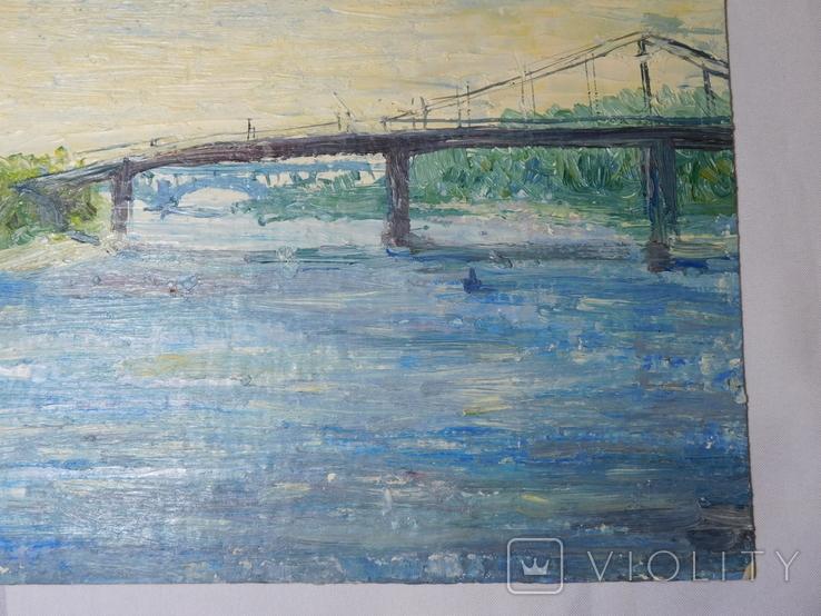 Пешеходный мост. Картон, масло. Размер 24,5х35 см., фото №6