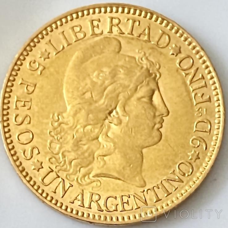 5 песо. 1887. Аргентина (золото 900, вес 8,06 г), фото №2