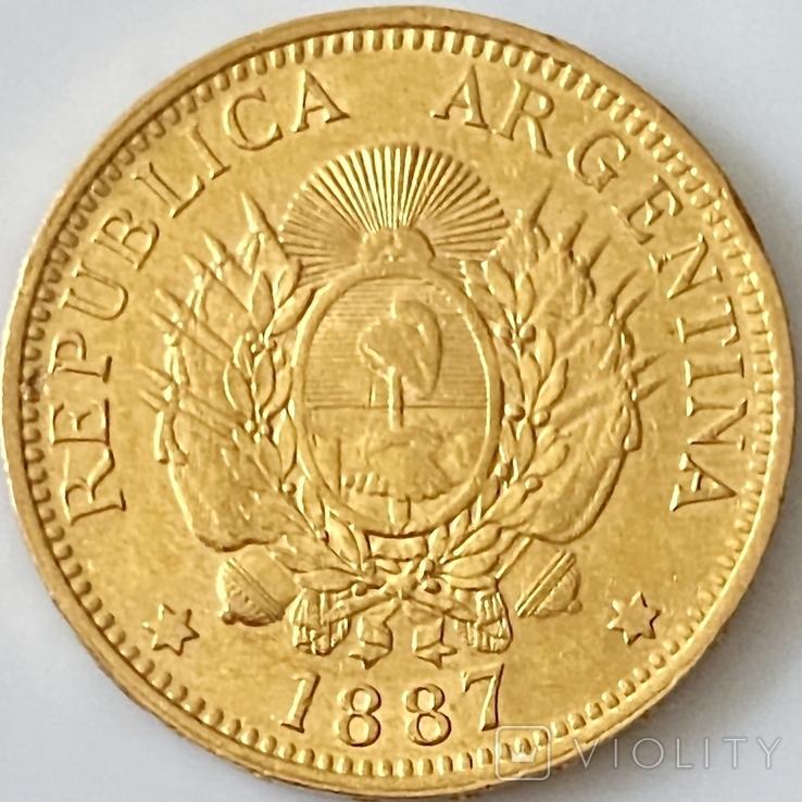 5 песо. 1887. Аргентина (золото 900, вес 8,06 г), фото №3