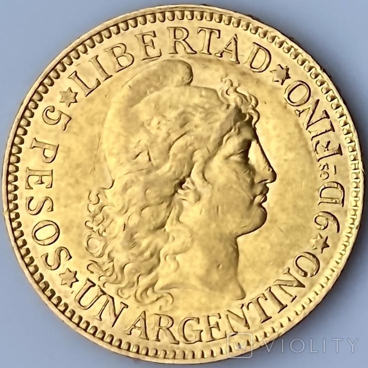 5 песо. 1887. Аргентина (золото 900, вес 8,06 г), фото №4