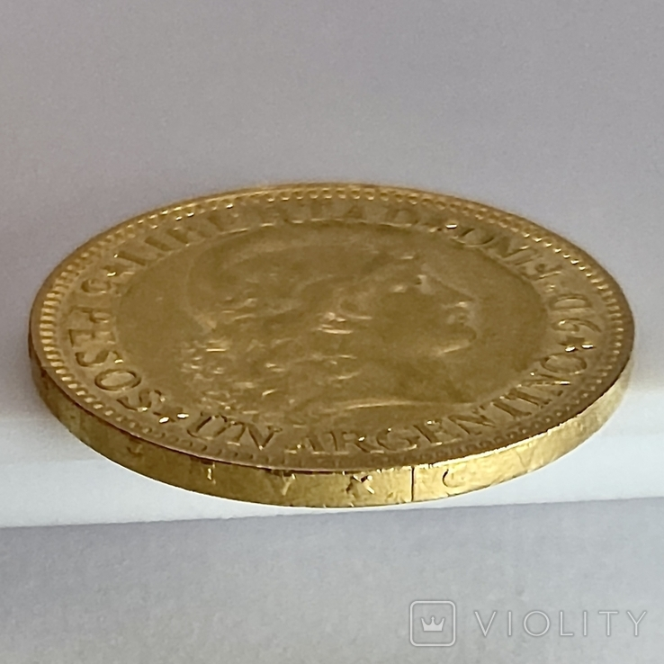 5 песо. 1887. Аргентина (золото 900, вес 8,06 г), фото №8
