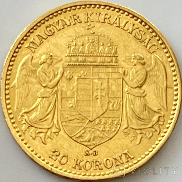 20 крон. 1899. Австро-Венгрия (золото 900, вес 6,77 г), фото №3