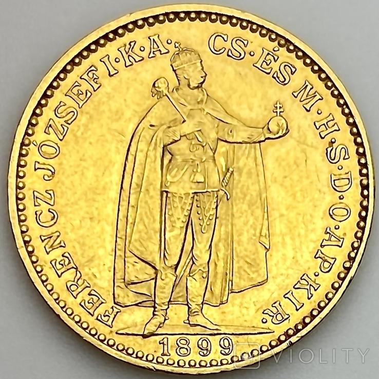 20 крон. 1899. Австро-Венгрия (золото 900, вес 6,77 г), фото №4