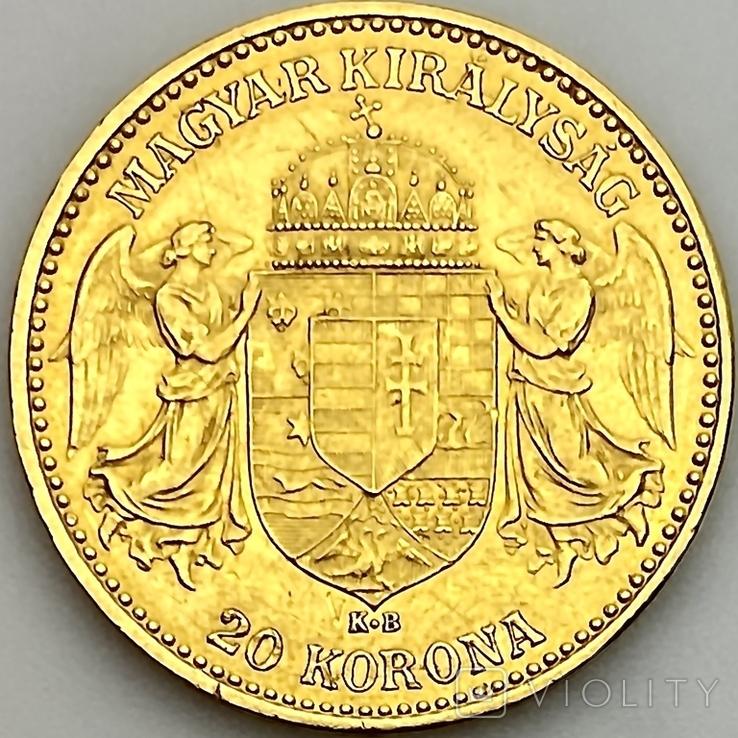 20 крон. 1899. Австро-Венгрия (золото 900, вес 6,77 г), фото №5