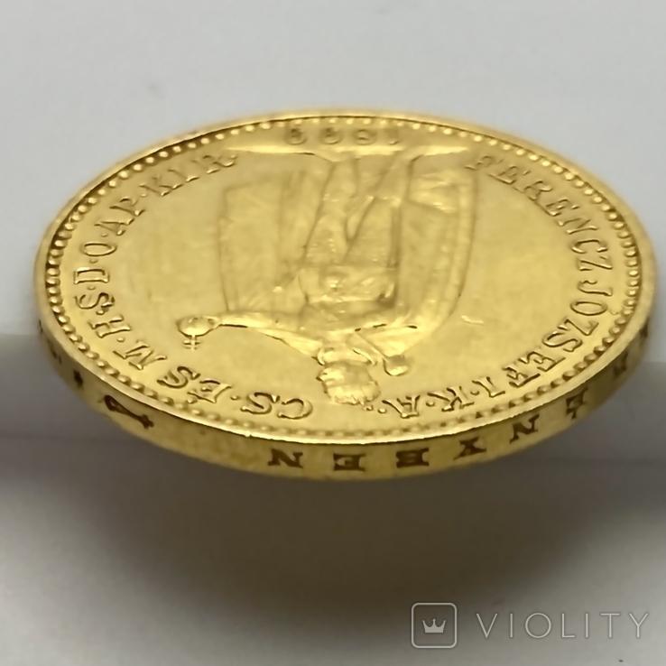 20 крон. 1899. Австро-Венгрия (золото 900, вес 6,77 г), фото №11