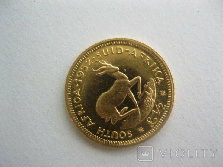 Одна вторая фунта(пол соверена) 1952 год Южная Африка Георг V, фото №2