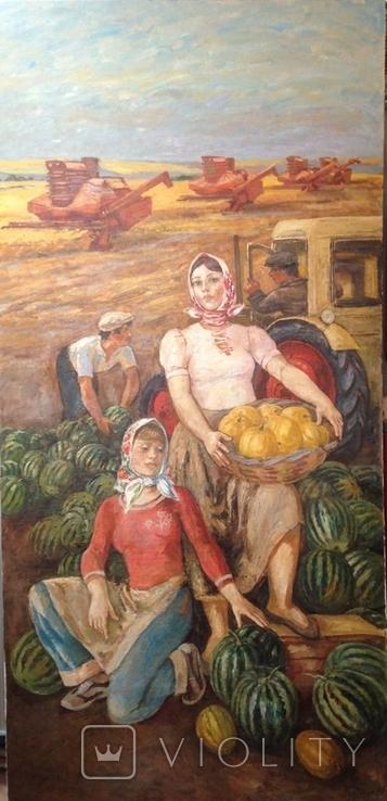 Картина СССР Сбор урожая 1972 г. Луцкевич Юрий Павлович (1934 2001), фото №3