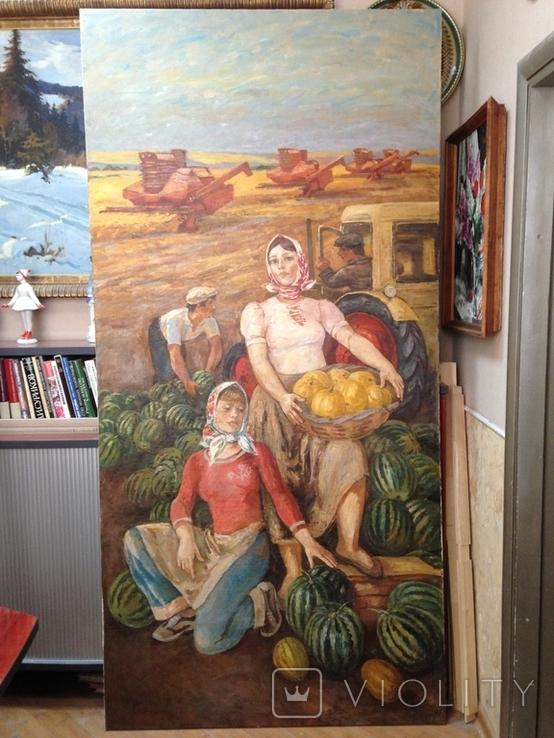 Картина СССР Сбор урожая 1972 г. Луцкевич Юрий Павлович (1934 2001), фото №2