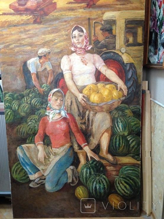 Картина СССР Сбор урожая 1972 г. Луцкевич Юрий Павлович (1934 2001), фото №4