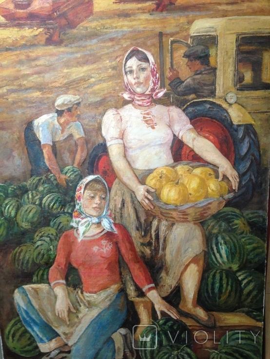Картина СССР Сбор урожая 1972 г. Луцкевич Юрий Павлович (1934 2001), фото №6