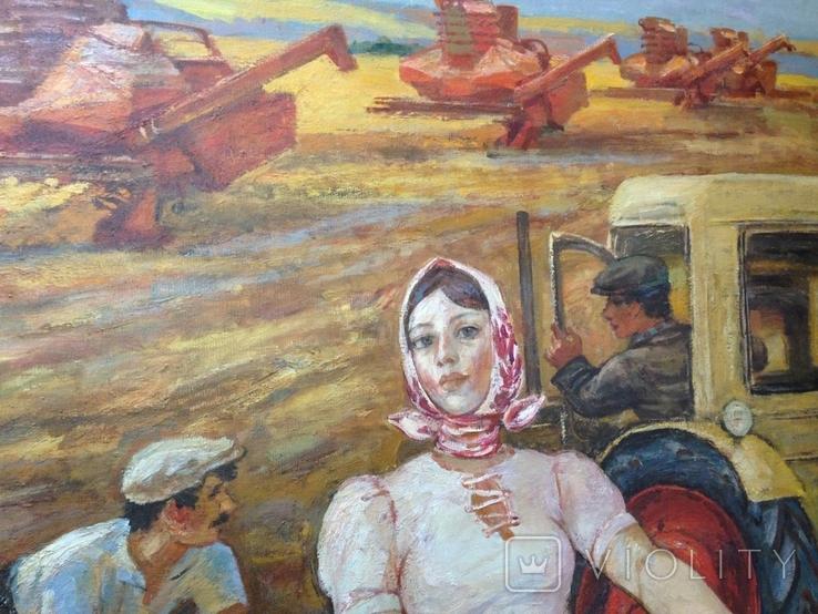Картина СССР Сбор урожая 1972 г. Луцкевич Юрий Павлович (1934 2001), фото №9
