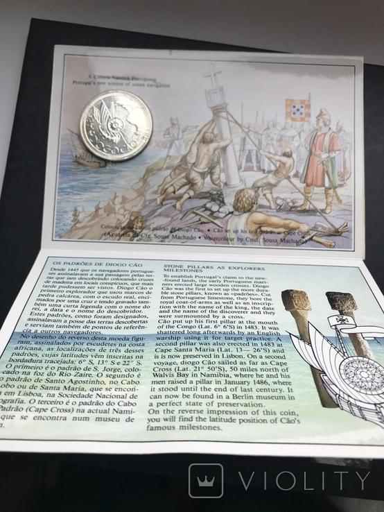 100 эскудо 1987 Португалия серебро Золотой век открытий - Диогу Кан, фото №5