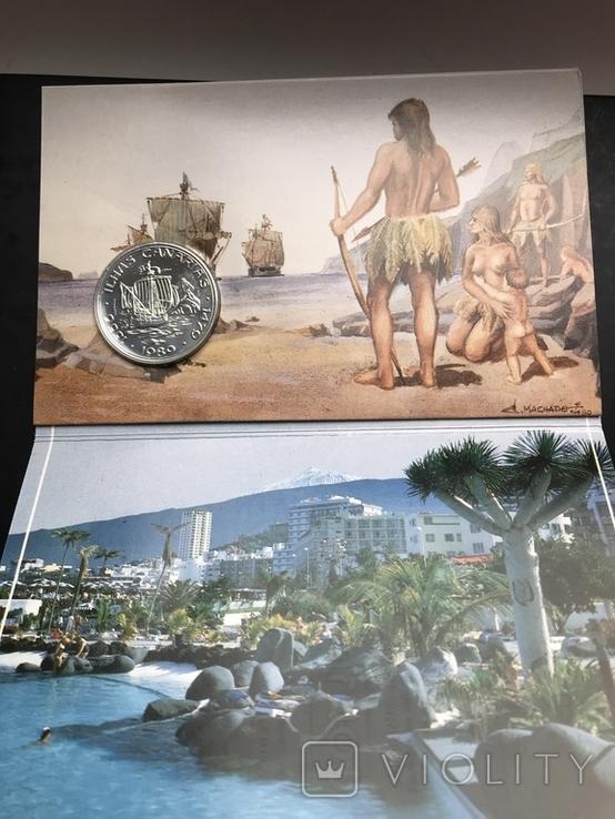 100 эскудо 1988 Португалия серебро Золотой век открытий - Открытие Канарских островов, фото №4