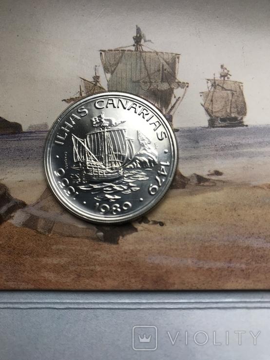 100 эскудо 1988 Португалия серебро Золотой век открытий - Открытие Канарских островов, фото №2