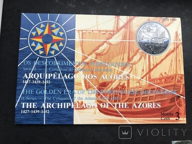 100 эскудо 1989 Португалия серебро Золотой век открытий - Открытие Азорских островов, фото №3