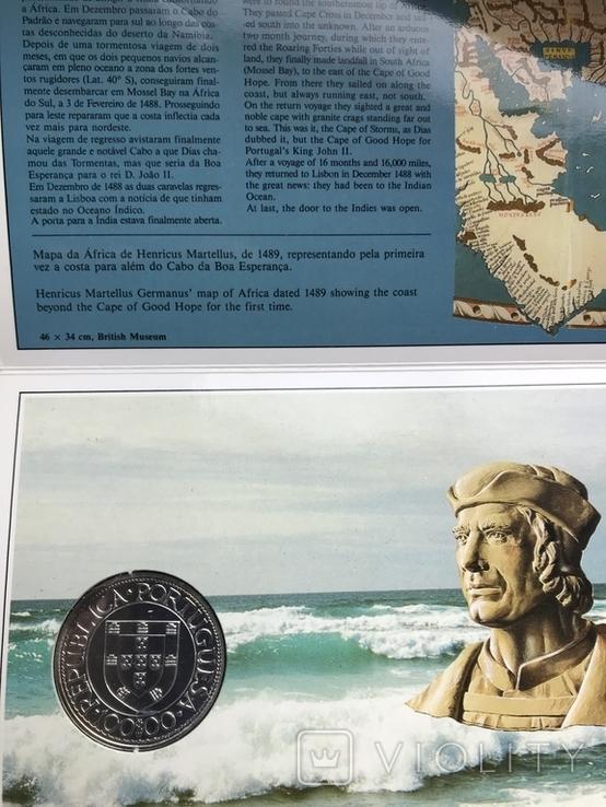 100 эскудо 1988 Португалия серебро Золотой век открытий - Бартоломеу Диаш, фото №4