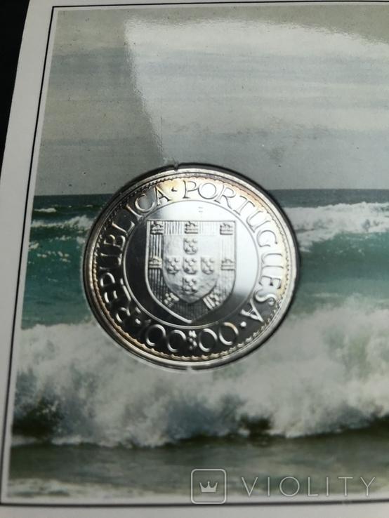 100 эскудо 1988 Португалия серебро Золотой век открытий - Бартоломеу Диаш, фото №5