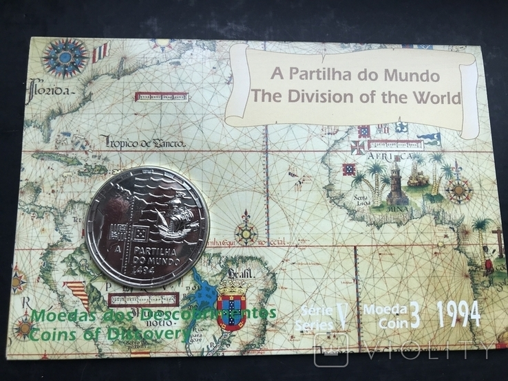 200 эскудо 1994 Португалия серебро 500 лет с разделения между Португалией и Испанией, фото №3