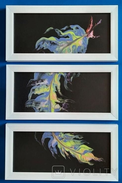 Картина/триптих/ живопис/ абстракція Fluid Art #63 acrylic, фото №3