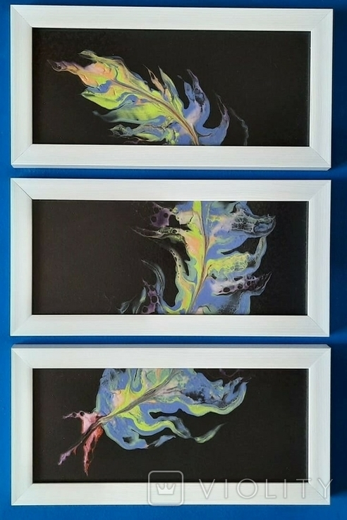 Картина/триптих/ живопис/ абстракція Fluid Art #63 acrylic, фото №5