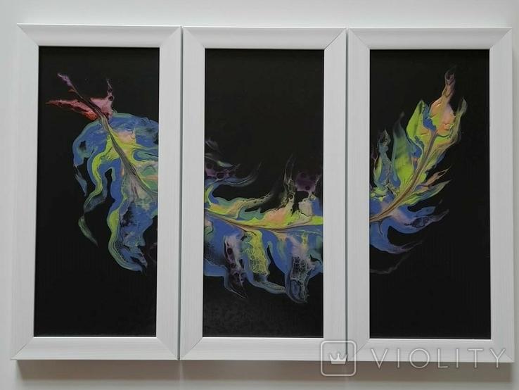 Картина/триптих/ живопис/ абстракція Fluid Art #63 acrylic, фото №13