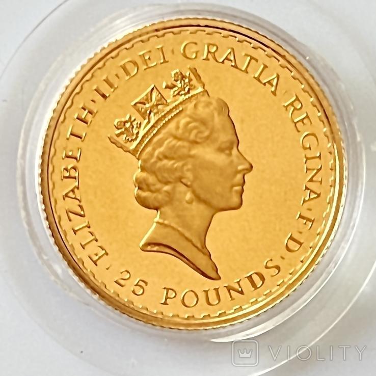 25 фунтов. 1988. Стоящая Британия. Елизавета II (золото 917, 1/4 унции), фото №8
