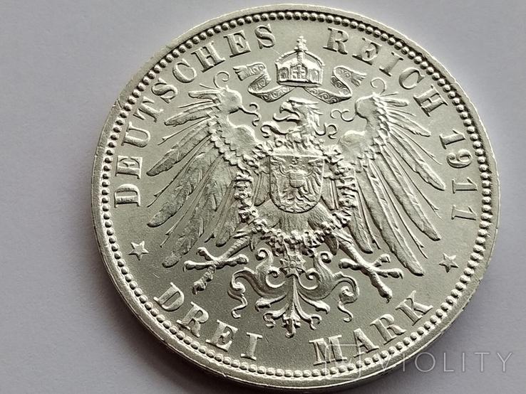 3 марки 1911 г. Бавария, фото №2