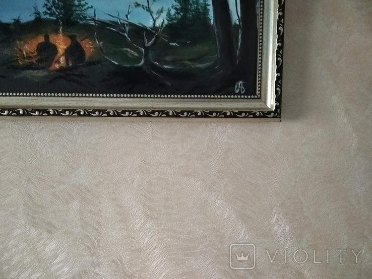 Двое у костра А.Безуглый. Копия., фото №4