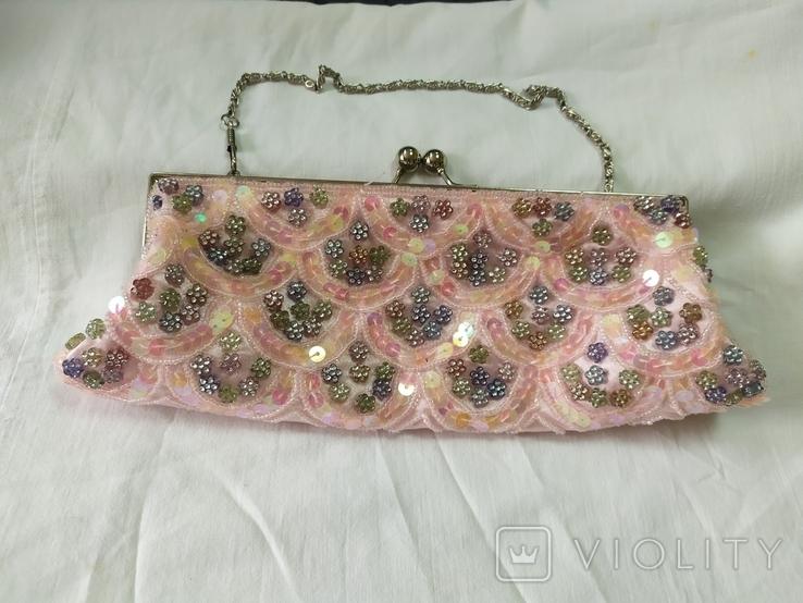Нарядная сумочка клатч расшитая бисеоом, пайетками. Charlotte Reid. Англия. 25х11см, фото №2