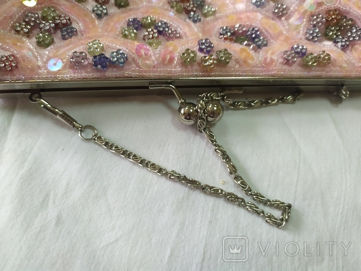 Нарядная сумочка клатч расшитая бисеоом, пайетками. Charlotte Reid. Англия. 25х11см, фото №9