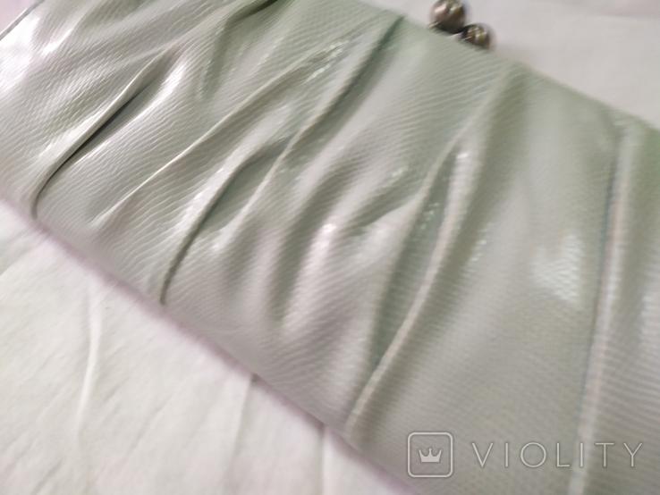 Клатч бледно-мятного цвета. на каркасной основе. 27х14см, фото №3