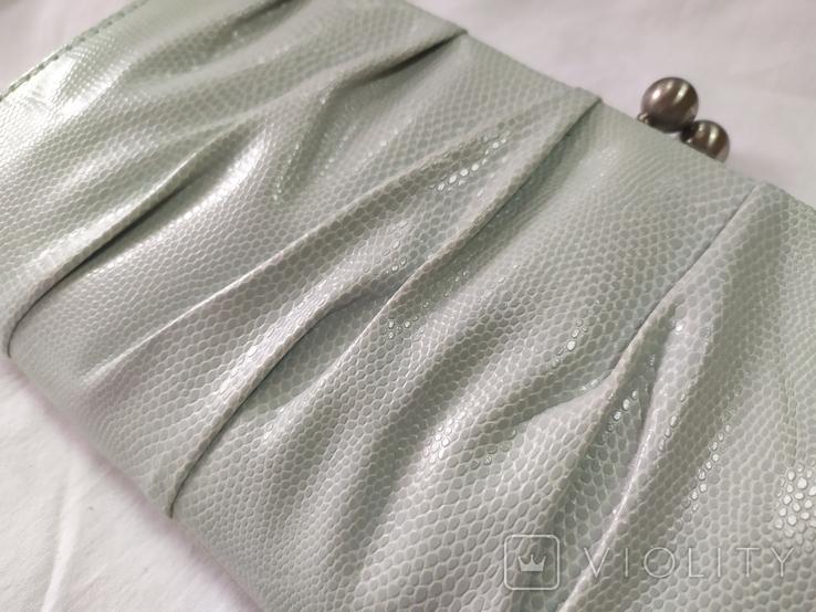 Клатч бледно-мятного цвета. на каркасной основе. 27х14см, фото №4