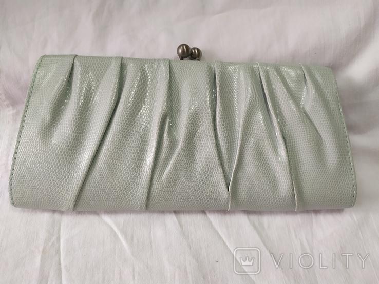 Клатч бледно-мятного цвета. на каркасной основе. 27х14см, фото №7