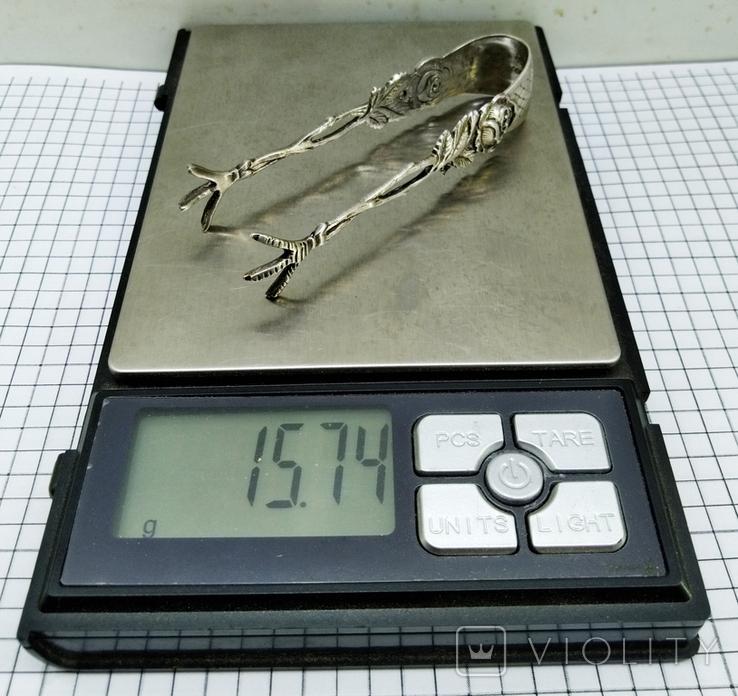 Щипцы для сахара серебро 800. Германия., фото №5