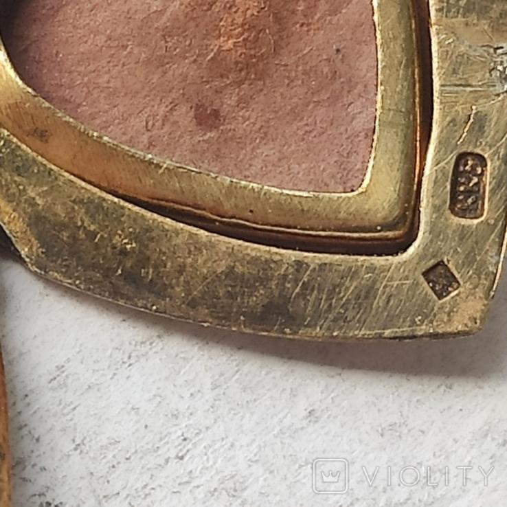 Кулончик под фото. Глубокий СССР. Серебро с позолотой. 875 пр.с головой., фото №7