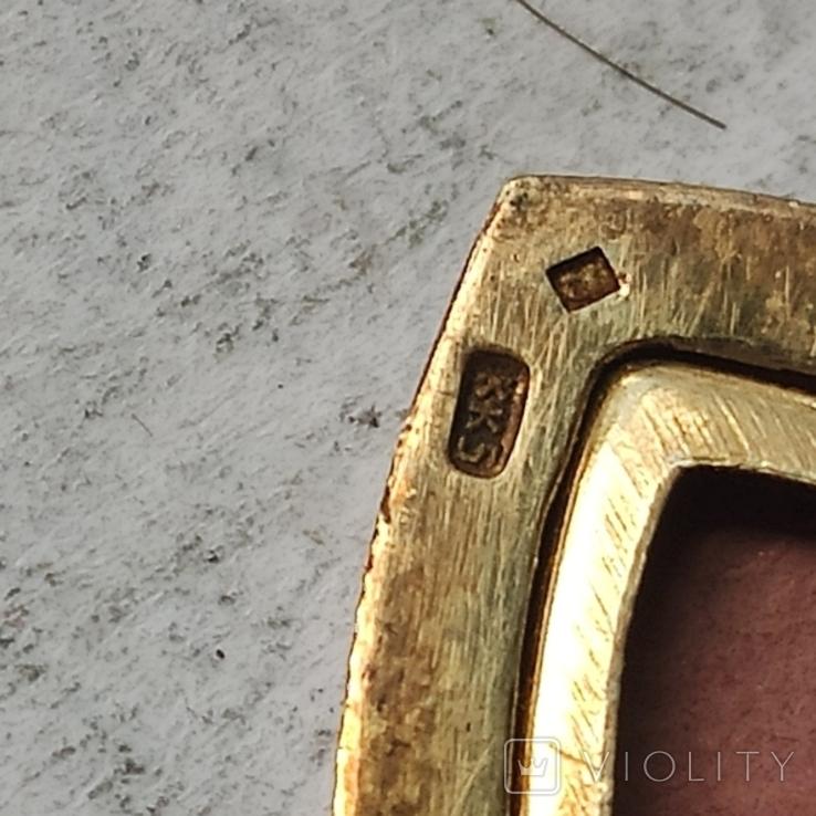 Кулончик под фото. Глубокий СССР. Серебро с позолотой. 875 пр.с головой., фото №8