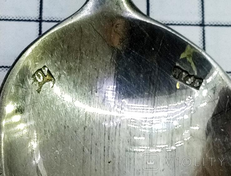 Чайная ложка серебро 800, клейма, фото №8