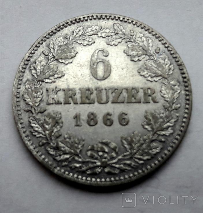 Германия. Бавария 6 крейцеров 1866 год, фото №2