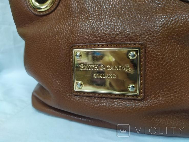 Кожаная женская сумочка. Плотная мясистая кожа. Англия. Без ручек 30х13х19см, фото №3