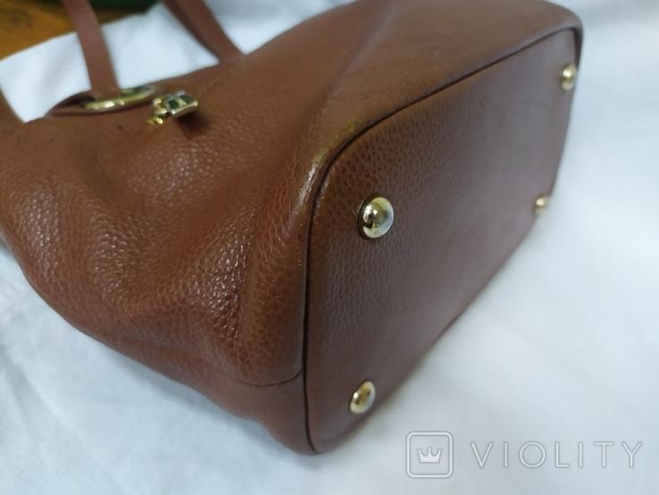 Кожаная женская сумочка. Плотная мясистая кожа. Англия. Без ручек 30х13х19см, фото №7