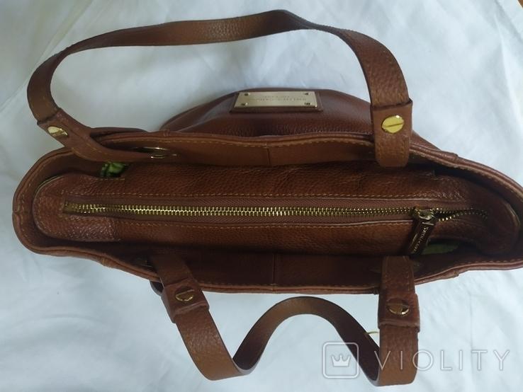 Кожаная женская сумочка. Плотная мясистая кожа. Англия. Без ручек 30х13х19см, фото №10