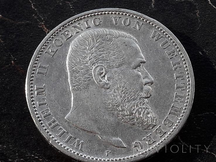 5 марок 1907 года ВЮРТЕМБЕРГ, фото №2