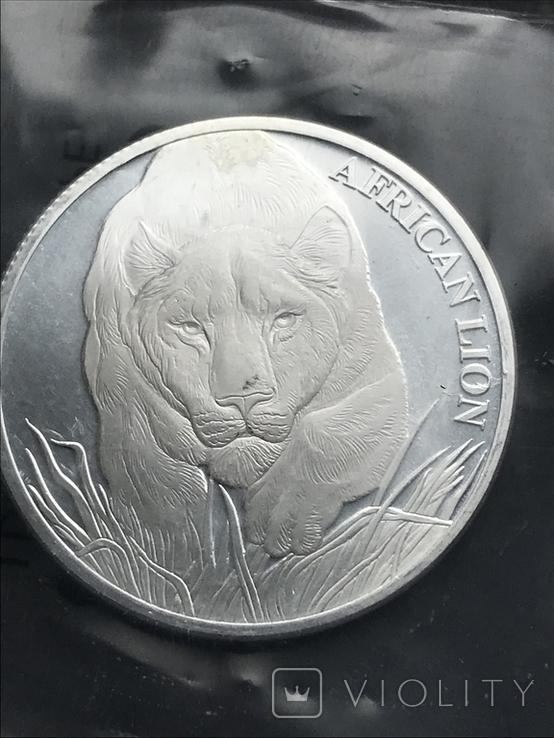 5000 франков 2017 Чад Африканский лев серебро 0.999 унция, фото №2