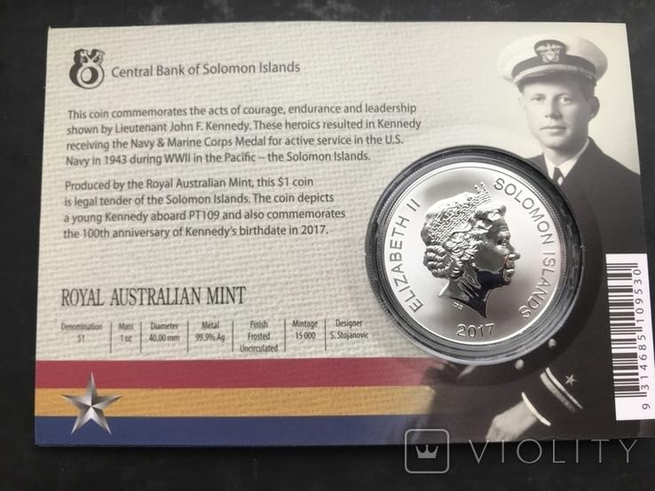 1 доллар 2017 Соломоновы Острова Джон Кеннеди серебро унция 0.999, фото №3