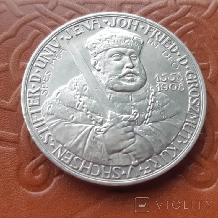 Німецька імперія 5 марок 1908 рік 350-а річниця - Йєнський університет, фото №3